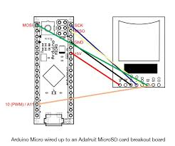 arduino micro wiring diagram arduino image wiring arduino micro wired up to an adafruit microsd card breakout board on arduino micro wiring diagram