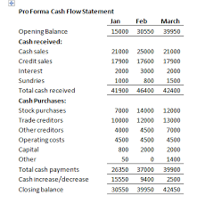 Business Financial Plan: Cash Flow Statement