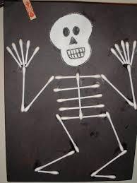 Q tip skeleton craft. Skeleton CraftRed Ribbon WeekPreschool IdeasHalloween  ...