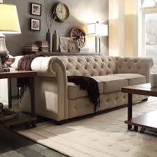 Tufted Living Room Set Knightsbridge Beige Fabric Button Tufted Chesterfield Sofa And
