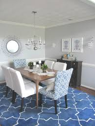 blue dining room furniture. Furniture Dining Room Rustic Brown Wooden Table Combined With White Leather Upholstered Chair Above Rectangle Blue Rug For Under To Extraordinary Idea A