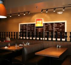 restaurant lighting ideas. Cozy Ambient Lighting With Wooden Table And Exclusive Leather Chairs For Funky Fancy Fast Food Restaurant Interior Design Ideas