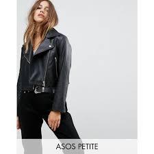 petite petite ultimate leather look biker jacket black notch lapels cropped cut ank 92818