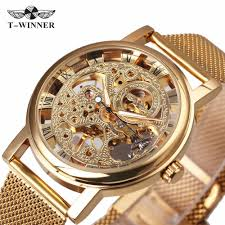 WINNER Ultra Thin <b>Luxury Golden Men</b> Mechanical Watch Mesh ...