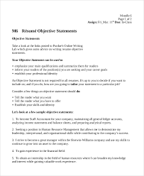 7 Sample Resume Objective Examples Sample Templates