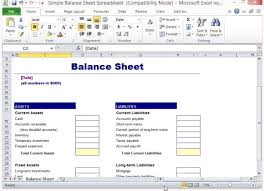balance sheet template simple balance sheet template for excel