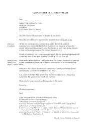 How To Write A Maternity Leave Letter For Work Draft Maternity Leave Letter Rejoining Format After Medical To Quit