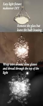 diy wine glass chandelier