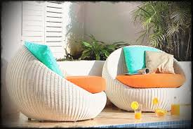 modern pool affordable furniture using rounded design white rattan patio chairs with orange seating and funiture
