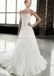 Strapless Court Train Ivory Lace Tulle Wedding Dress