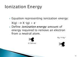 equation representing ionization energy x g x g