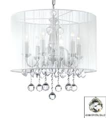 drum shade chandeliers crystal chandelier with large white shade crystal h x w pendant light conversion kit