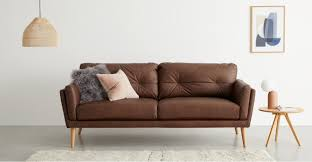 Sampson 3 Sitzer Sofa Leder In Walnussbraun Madecom