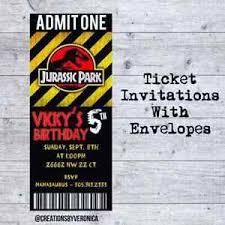 Jurassic Park Invitations Details About Jurassic Park Ticket Birthday Invitation Digital Or Printed