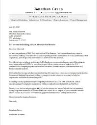 Cover Letter Seeking An Analyst Opportunity Investment Banker Cover