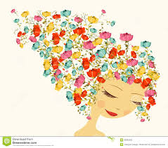 Elements Of Design And Composition Beautiful Season Woman Abstract Hair Design Elements Stock