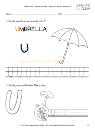 handwriting worksheet Letter U