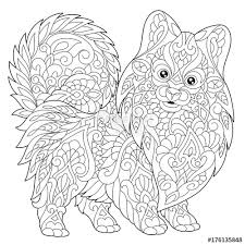 coloring page of pomeranian dog symbol of 2018 chinese new year freehand sketch drawing