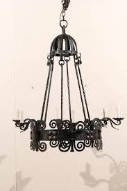 an italian six light black iron vintage chandelier this mid 20th century italian