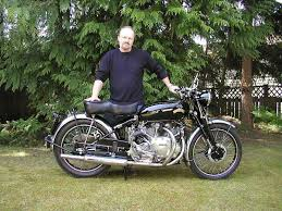 colin and his restored vincent motorcycle