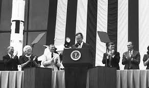 the space review aiming for mars grounded on earth part one president george h w bush at nasm