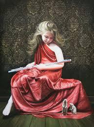girl rats pets children cute flute fine art painting beautiful realistic