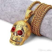 whole original punk men necklace hip hop 18k gold gothic skull pendant necklace for man with red cubic zirconia free 30 twisted chain silver necklace