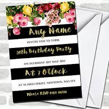 Details About Pink Floral Black White Gold 50th Birthday Party Invitations