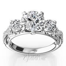 twist shank three stone diamond engagement ring 1 00 ct t w