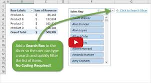 Pivot Chart Youtube How To Add A Search Box To A Slicer To Quickly Filter Pivot