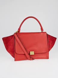details about celine red pebbled calfskin suede leather small tze bag