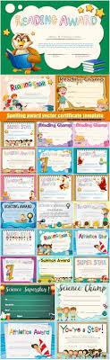 Дипломы и сертификаты векторные шаблоны Страница  Детские награды сертификаты дипломы красочные векторные шаблоны