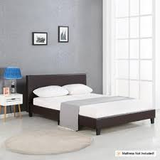 IKAYAA Modern Upholstered Linen Platform Bed Frames With Wood Linen Platform Bed