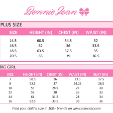 Bonnie Jean Plus Size Chart Size Guide Baby Clothes Sizes Clothing Size Chart