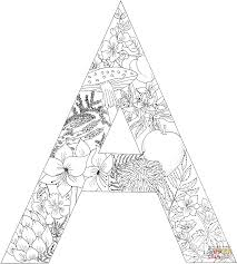 Small Picture Letter A with Plants coloring page Free Printable Coloring Pages