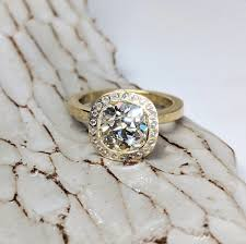 2 38 carat old mine cut diamond ring
