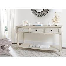 N Safavieh Manelin White Washed Wood Casual Console Table