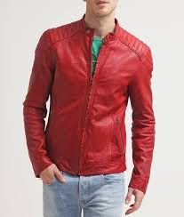 men red moto leather jacket add to cart