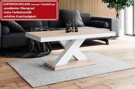 Design Couchtisch H 888 Cappuccino Weiß Hochglanz Highgloss Tisch Wohnzimmertisch
