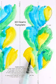 Half Heart Template A Colorful 3d Paper Heart Craft For Valentines Day Babble