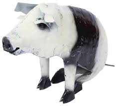 recycled metal sitting pig black and white