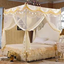 US $42.14 14% OFF|byetee High Quality Mosquito Net Bed Canopy Curtains Palace Mosquito Net Three door Luxury Bed Canopy with Stainless Steel Frame-in ...