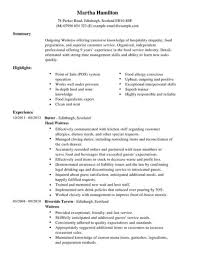 Example Modern Resume Template Modern Waitress Cv Example Resume Templates For Waiter Durun