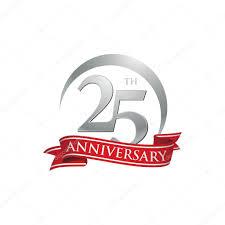 Anniversary Ribbon 25th Anniversary Ring Logo Red Ribbon Stock Vector Ariefpro