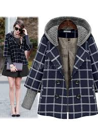 hooded check coat women s double ted knit sleeve winter coat no