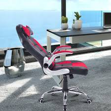 office reclining chair. HOMCOM Racing Office Chair Adjustable Recliner High Back Swivel Seat Faux Leather With Pillow Black And Reclining I