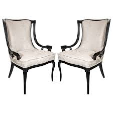 sculptural pair of s sleigh arm occasional chairs in oyster