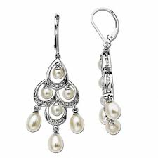 oval cultured freshwater pearl and 1 10 ct t w diamond chandelier earrings in sterling