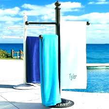 outside towel rack pool holder poolside stand outdoor wood shower spa and p