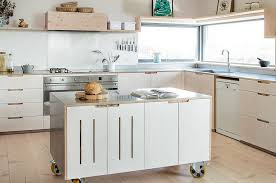 View in gallery Kitchen island on wheels for the stylish modern home  [Design: Sustainable Kitchens]